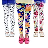QIJOVO 3 Packs Girls Pants Great Stretch Printing Flower Toddler Leggings Kids