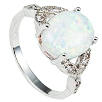 Rhodium Plated Fire Opal Wedding Engagement Ring Size 4-12