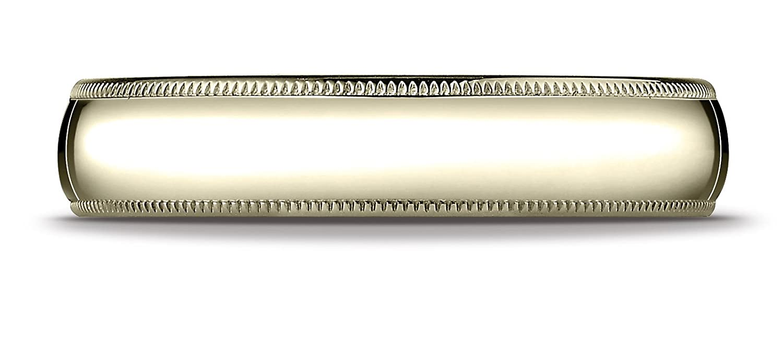 Mens 14K Yellow Gold 5mm Traditional Domed Milgrain Wedding Band Ring