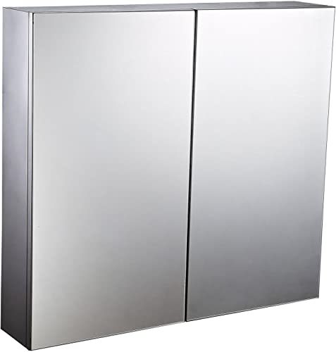 HomCom 22 Stainless Steel Double Doored Wall Mounted Mirrored Medicine Cabinet