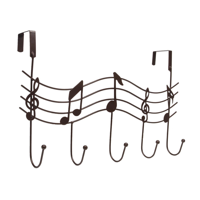 Fashionclubs Over the Door 5 Hanger Rack Hook Decorative Metal Hanger Holder Music Holder for Home Office Use SG/_B01HECT2IM/_US Black