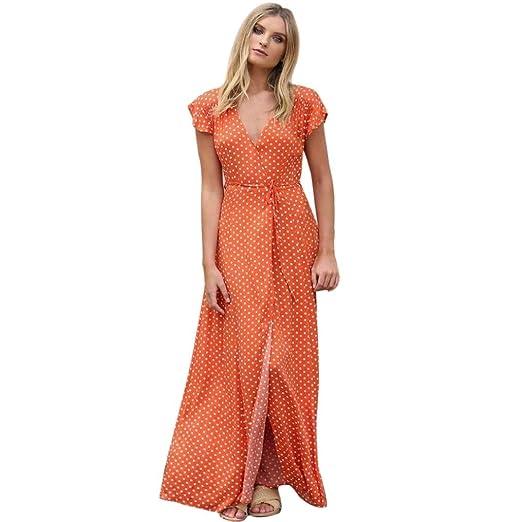 251a9cbac7fe97 Image Unavailable. Image not available for. Color  NOMENI Women s Summer  Sexy Dot Long Boho Short Sleeve Sundrss V-Neck Maxi Dress Fashion