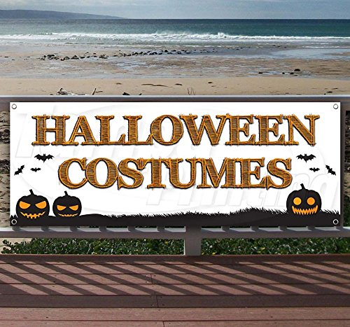 Halloween Costumes 13 oz Heavy Duty Vinyl Banner Sign with Metal Grommets, New, Store, Advertising, Flag, (Many Sizes Available) -