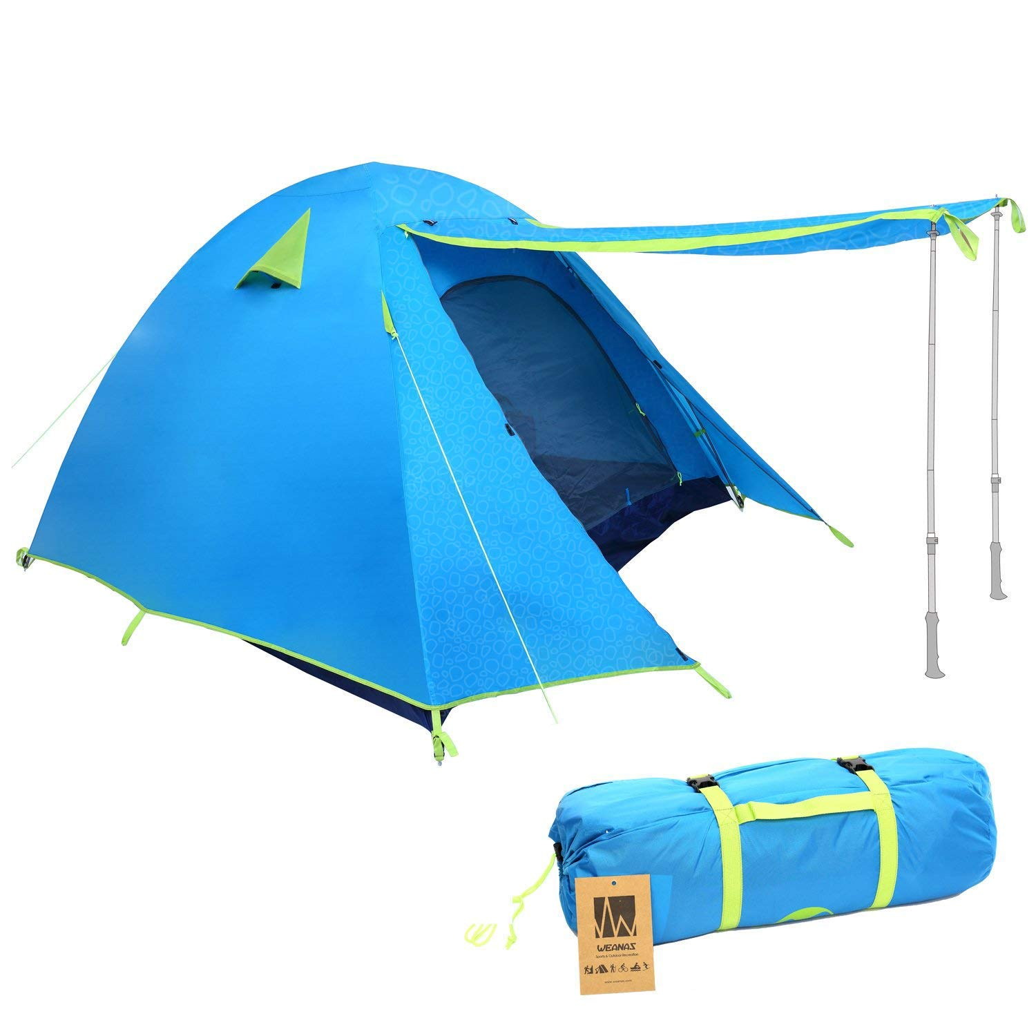 Weanas Professional Backpacking Tent 2 3 4 Person 3 Season Weatherproof Double Layer Large Space Aluminum Rod for Outdoor Family Camping Hunting Hiking Adventure Travel (Azure, 1-2 Person)