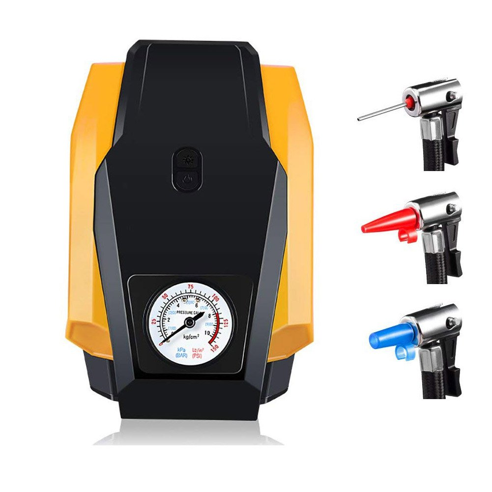 CLKJCAR Tire Inflator Pump, 12V Portable LED Car Tyre Inflator Pump Air Compressor with Pressure Gauge, for Car, Bike, Motorcycle, Football, Basketball, Rugby, Airbeds and More