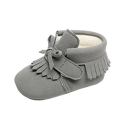 9429e2a153ee0 Bonjouree Chaussures Bebe Fille Garcon Premier Pas Hiver Souples en Cuir  Artificiel (11CM 0