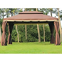 Outsunny 10'x13' Aluminum Frame Double Top Gazebo Canopy with Mesh Netting and Privacy Curtains, Coffee