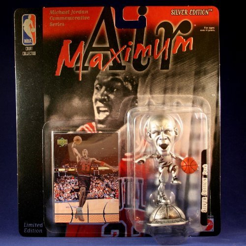 (MICHAEL JORDAN / CHICAGO BULLS * OPEN MOUTH VARIATION * Limited Edition MAXIMUM AIR SILVER EDITION Commemorative Figure & Upper Deck NBA Collector Card)
