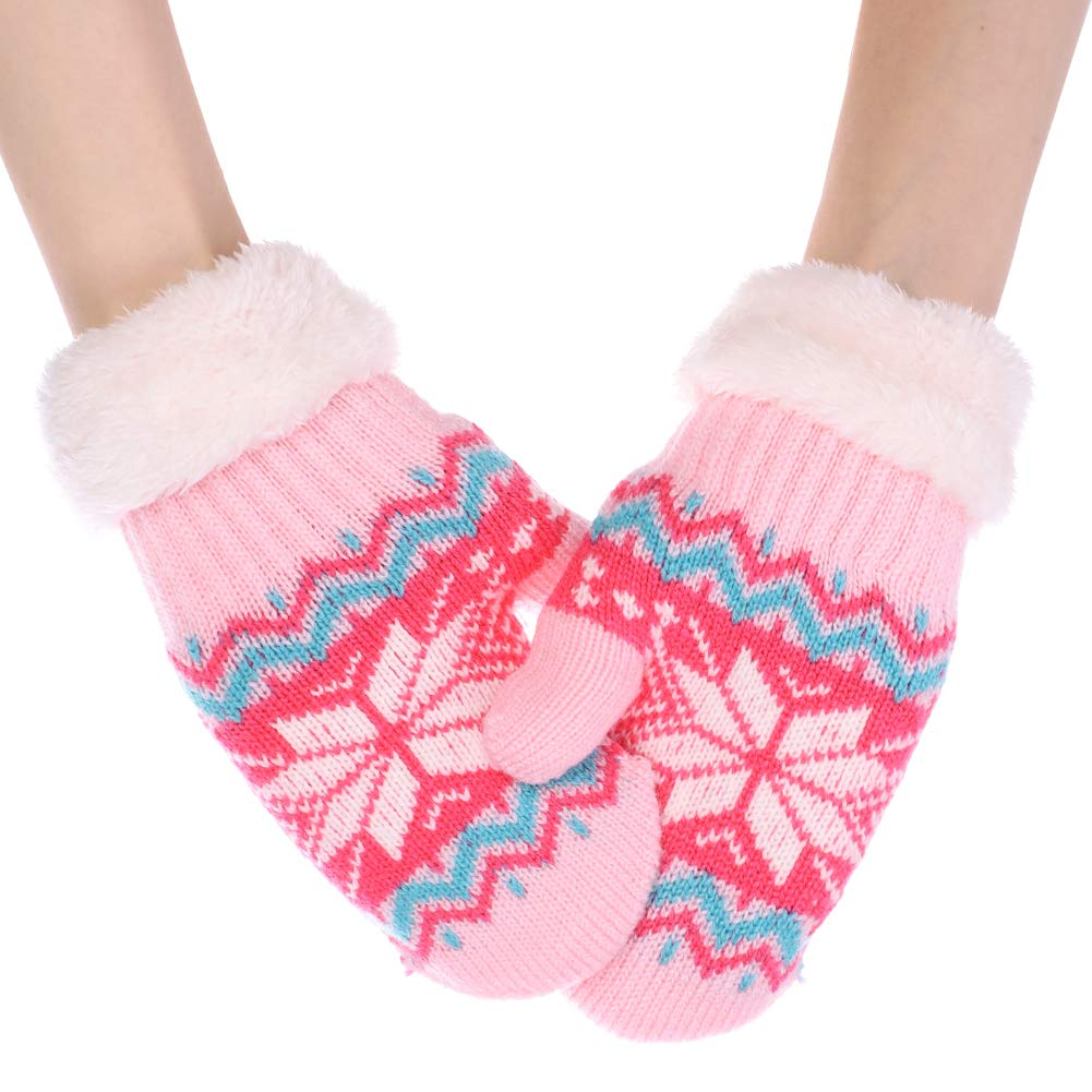 Kids Knitted Mittens Winter Snowflake Warm Gloves with String for Boys Girls LONTG