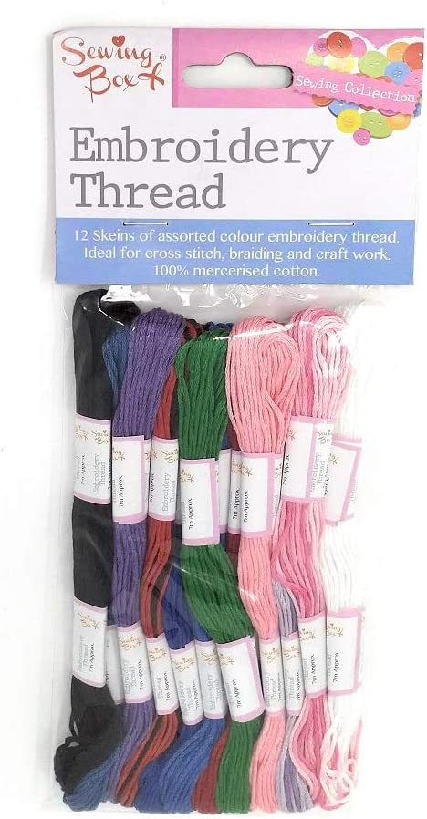 12 Pack Assorted Coloured Embroidery Thread Cotton Cross Stitch Craft Sewing