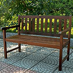 This Garden Wood Bench, is made in elegant Dark brown Acacia wood. Is a very sturdy and durable piece of furniture. Great outdoor choice for garden, porch, yard, patio or outside living area / space