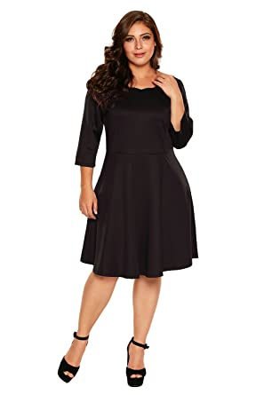 Justbuy Us Women Fitted Cocktail Plus Size Dresses 34 Sleeve Skater