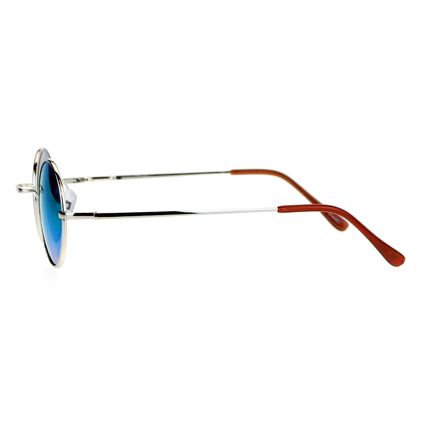 Small Round Circle Frame Sunglasses Metal Spring Hinge Mirror Lens