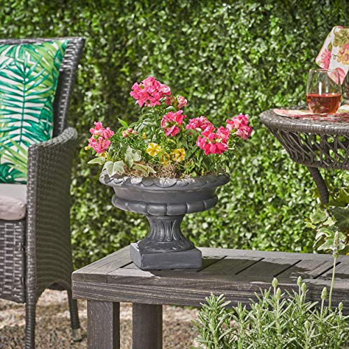 (Great Deal Furniture Breenda Chalice Garden Urn Planter, Roman, Botanical, Black Lightweight Concrete)