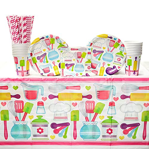 Cedar Paper Cooking - Little Chef Birthday Supply Pack for 16 Guests: Straws, Dessert Plates, Beverage Napkins, Cups, Tablecover