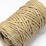 75 Feet 5 Ply 5mm Thick Natural Jute Twine String for Gardens and Hemp Ribbon Crafts