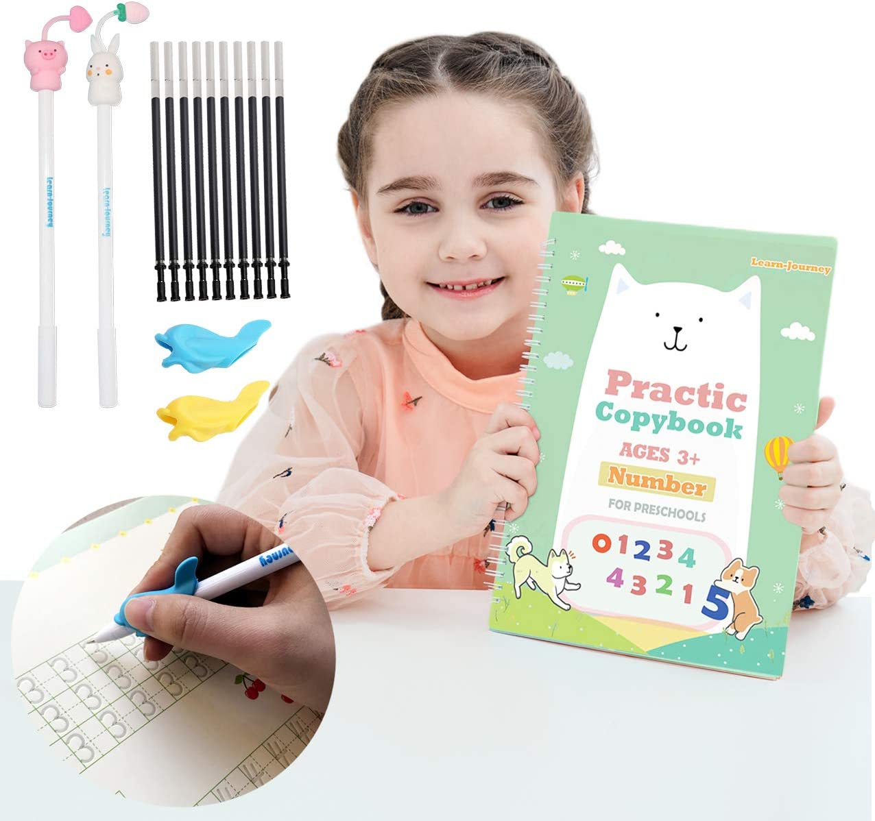 Magic Practice Copybook for Kids - The Print Handwiriting Workbook-Reusable Writing Practice Book for Preschools(Number Book with Pen)