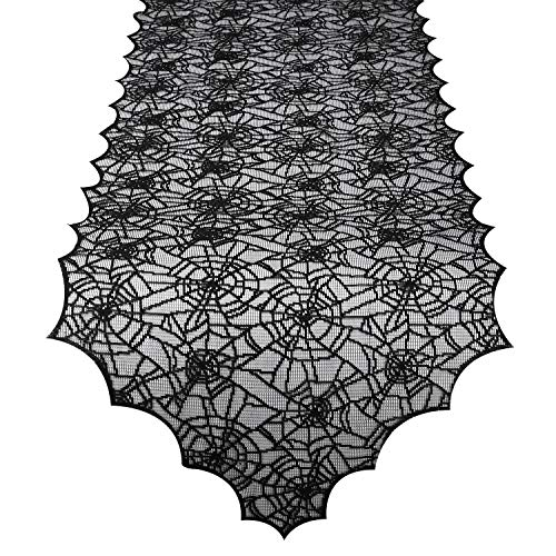 Lewondr Fringed Triangle Edge Multifunctional Tablecloth, Halloween Spider Web Pattern Table Cover, Lace Tassel Trim Decorative Tabletop Fireplace Window Cloth for Dinner Party Kitchen - Black