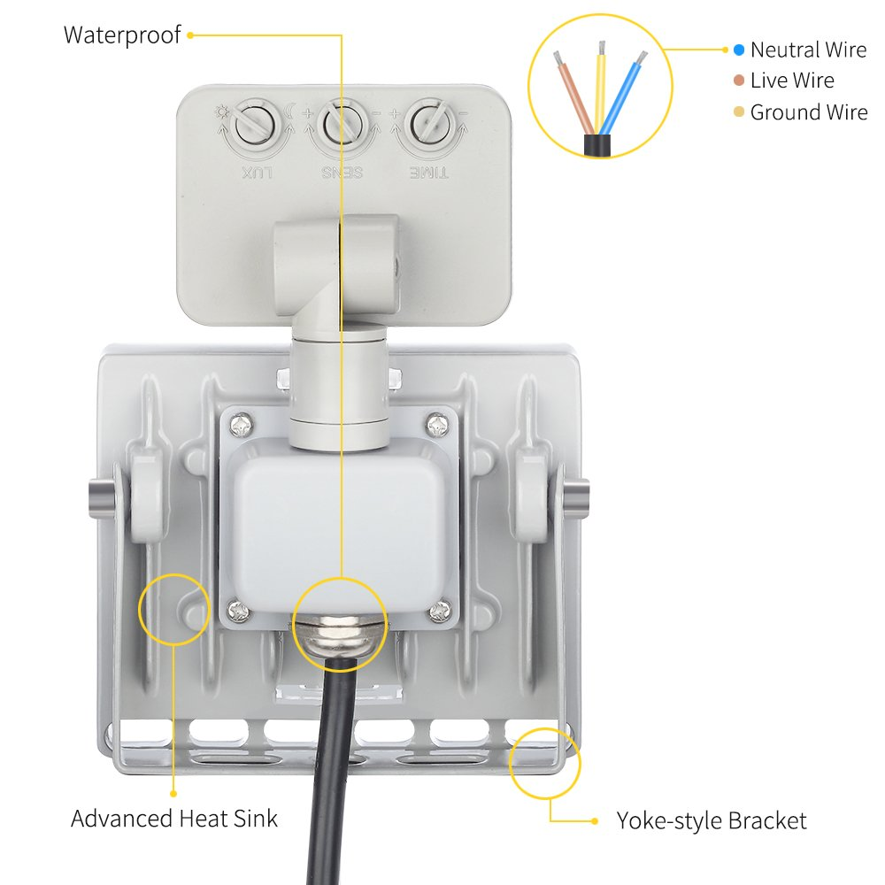 10w Motion Sensor Night Light Outdoor Led Super Bright Floodlight Flood Wiring Diagram With Sensors For Pir Cold White Waterproof