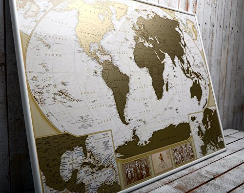 MyMap Deluxe Large World Scratch Off Map w/ EnLarge Europe and Caribbeans Map | 35 x 25 inc Push Pin Travel Map To Mark 10.000 Cities  | Anniversary Birthday Idea (First Map)