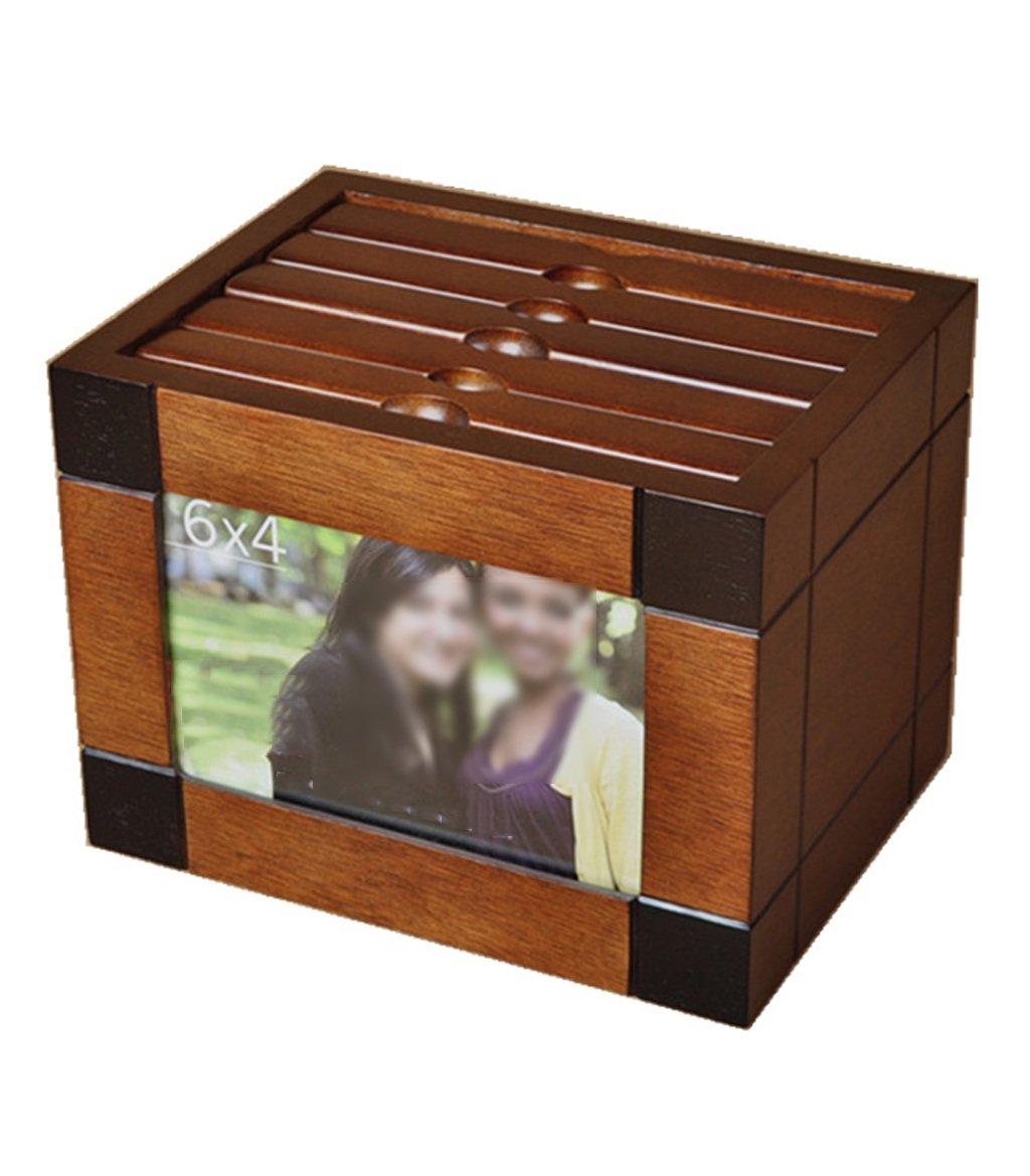 ZENGAI Wooden Photo Album Box 6 Inch Solid Wood Creative Photo Wedding Interstitial Photo Box Storage Box Phase Thin Creative Gift (Size : A)