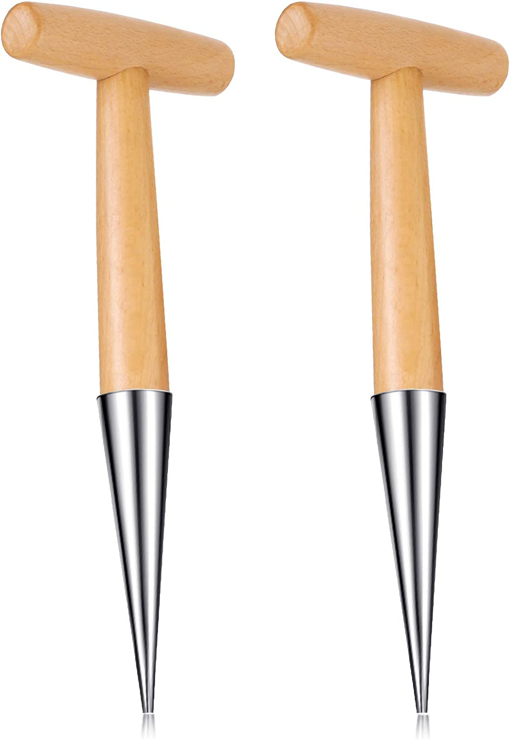 2 Pieces 11 Inch Stainless Steel Hand Dibber Garden Tools Wooden Dibbers Dibbler Bulb Planter for Planting Seeds and Bulbs