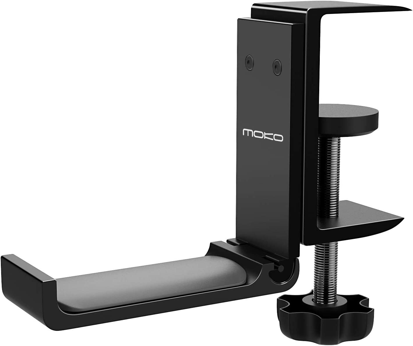 MoKo Headphone Stand, Universal Aluminum Headphone Foldable Hanger Adjustable Headset Stand Clamp Mount Desk Hook Holder for All Headphone Sizes, Sennheiser, Audio-Technica, Gaming Headphones - Black
