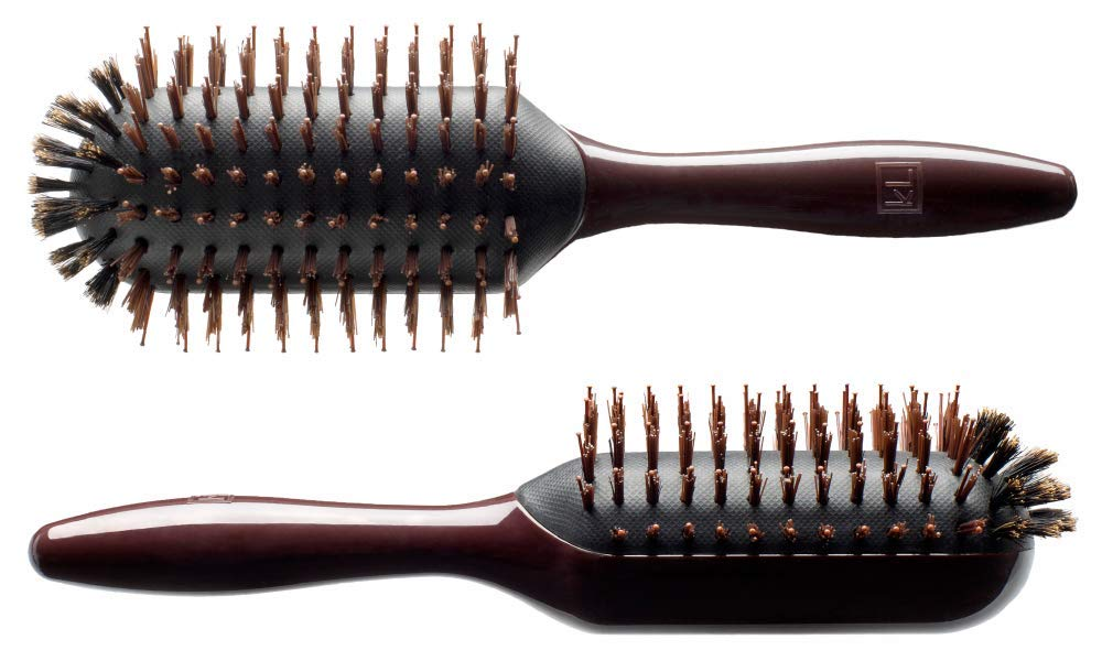 KELLIE LITTLE the groove Elliptic Hairbrush - 'All-In-One' LARGE 9 Row Mixture, Boar/Ionic w/FIRM Synthetic Bristles - Adds Shine, Scalp Massage, Reduces Static & Frizz - Pro Salon Quality by KELLIE LITTLE