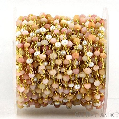(Wholesale One Foot Beautiful Pink Opal With Pearl, 3-3.5mm 24k Gold Plated Wire Wrapped Rosary Chain By Foot (GPPO-30007))