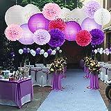 Sopeace 17 PCS 8'' 10'' Lavender Purple Pink White Tissue Paper Pom Pom Flowers and Paper Lanterns Party Decoration