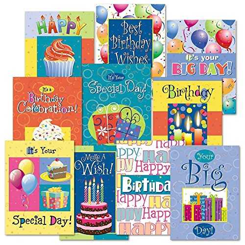 Birthday Fun Greeting Cards Value Pack - Set of 20 (10 designs), Large 5