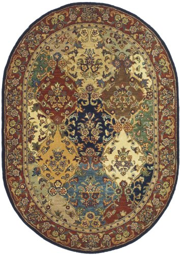 Heritage Collection Oval Rug - Safavieh Heritage Collection HG911A Handcrafted Traditional Oriental Multi and Burgundy Wool Oval Area Rug (4'6