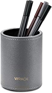 VPACK PU Leather Round Pens Pencils Cup Holder Desk Stationery Organizer (Pebble Grey)