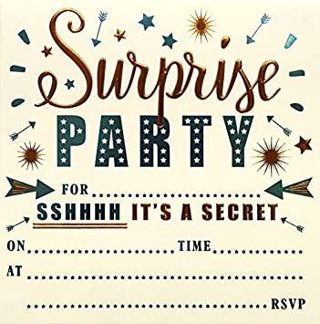 High Quality Foiled Cards and Matching Envelopes Pack of 10 Cards and Envelopes. Surprise Party Invitation