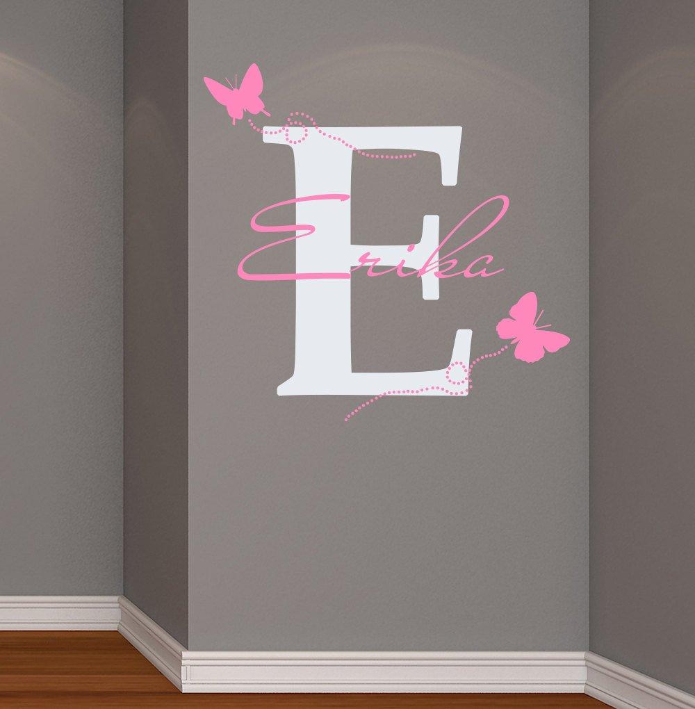 Großartig Wandtattoos Babyzimmer Foto Von Wandaufkleber Für Mädchen Persönlich Name Initialen Schmetterlinge