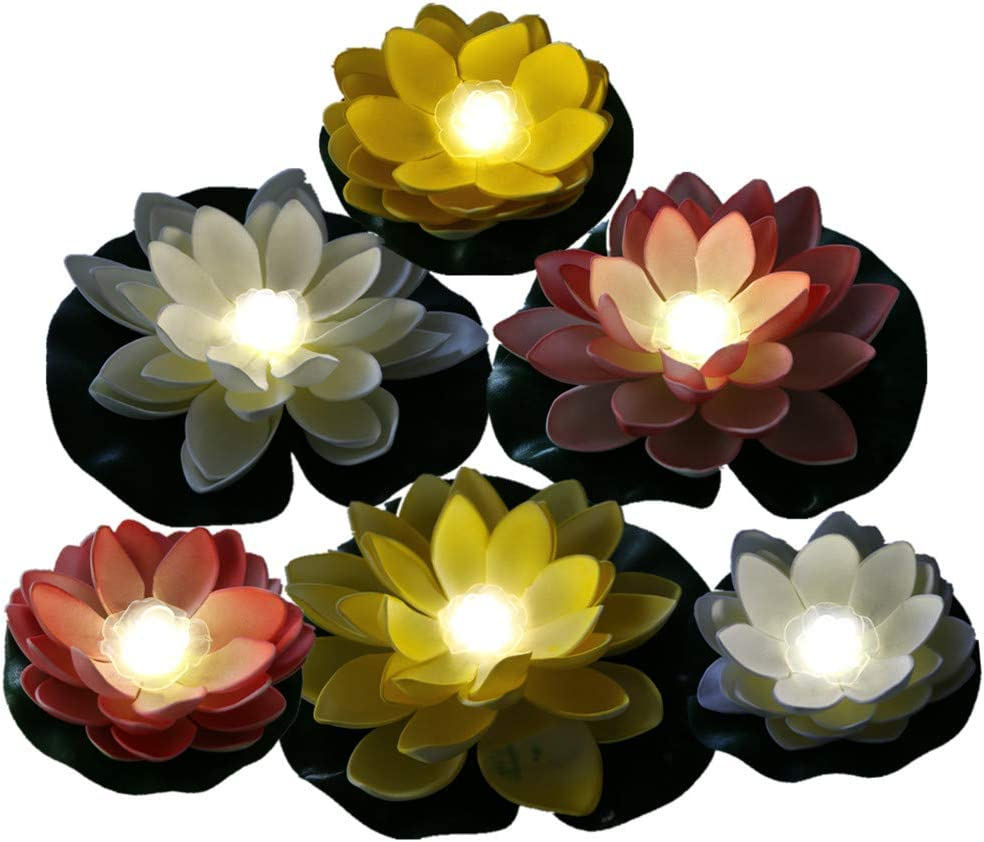 Pack of 6, Battery Operated Mixed Color Lotus-White LED, Water Floating Lily Flower, Flower Night Lamp for Pool Garden Fish Tank Wedding Or Party Decoration (6 Flowers and 2 Big Size Leaves 11'')