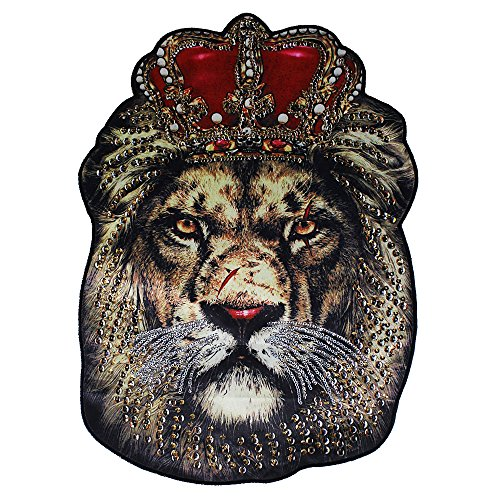 Oversized Fashion Beads Embroidered Sequins Patch Decals for Clothing Accessories Lion Head Applique Sew on DIY Supplies 1piece - Head Applique
