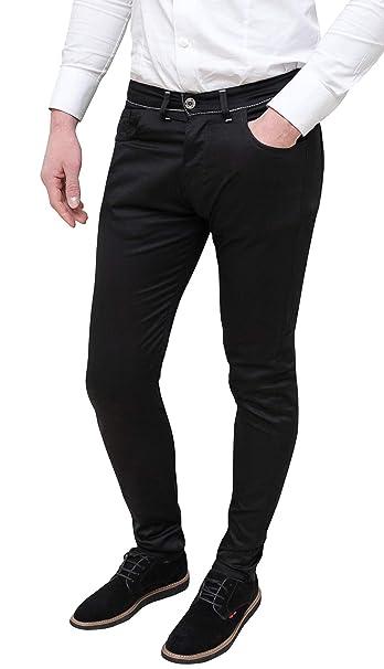Dettagli su Pantaloni jeans uomo casual eleganti neri estivi slim fit aderenti in cotone