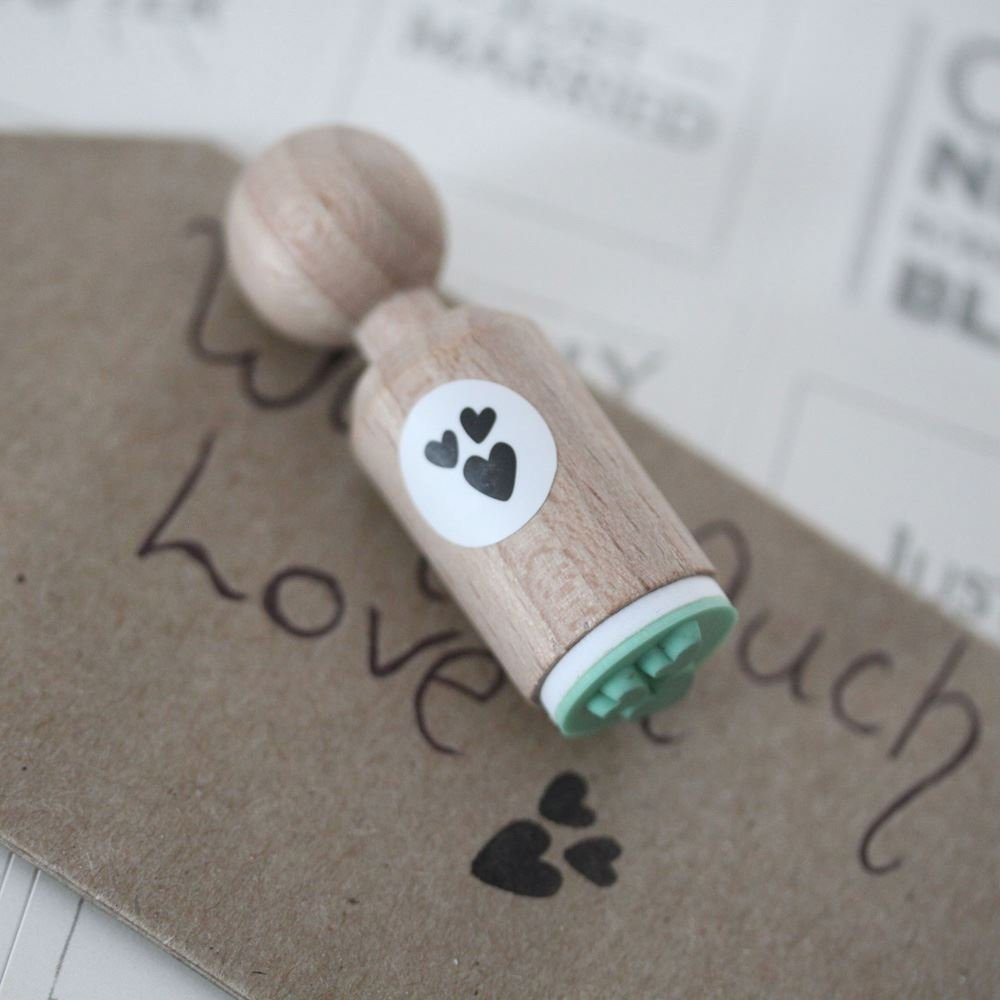 Craft Wedding Scrapbooking 3 Hearts Very Mini Rubber Stamp Card Making