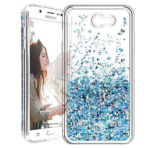 Galaxy J7 2017 Case, Caka [Liquid Series] Glitter Bling Flowing Floating Luxury Liquid Sparkle TPU Bumper Case for Samsung Galaxy J7 Sky Pro/Prime/J7 V/J7 Perx/Halo/2017(AT&T) - (Blue)
