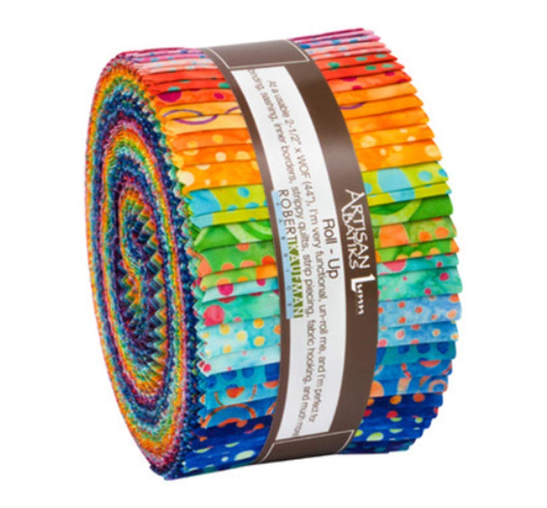 Lunn Studios Artisan Batiks Round and Around Roll Up 40 2.5-inch Strips Robert Kaufman RU-840-40 by Robert Kaufman Fabrics