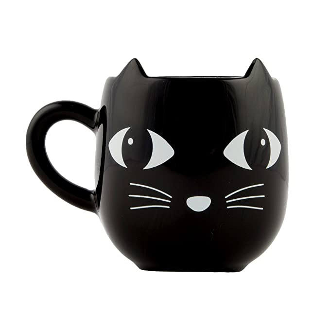 Sass /& Belle Cerámica Gato Negro Con Orejas Animal Novedad Té Café Taza Taza