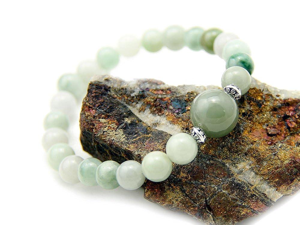 Agathe Creation - Bracelet en Jade véritable. Perles de jade naturelles -  Porte bonheur - monté sur fils élastique - Fait main  Amazon.fr  Bijoux d47293582f04