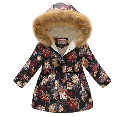 1a44910d0 Miss Bei Girl's Kids Toddler Winter Flower Print Parka Outwear Warm Cotton Coat  Hooded Jacketnavy red110
