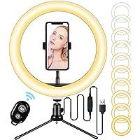 LED-ringlampa 10 tum med stativstativ och flexibel telefonhållare, skrivbord makeup selfie ringlampa med dimbara 3…