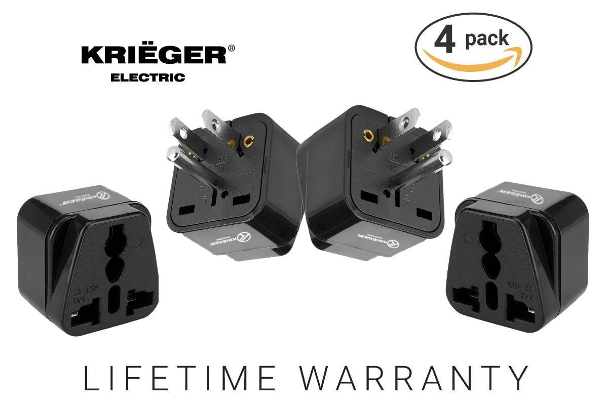 Today ONLY $7.99 - Krieger American Power Adapter - Type B Travel Adapter - American USA to European EU Schuko Plug Adapter- CE Certified (Type B - USA, Canada, Japan)