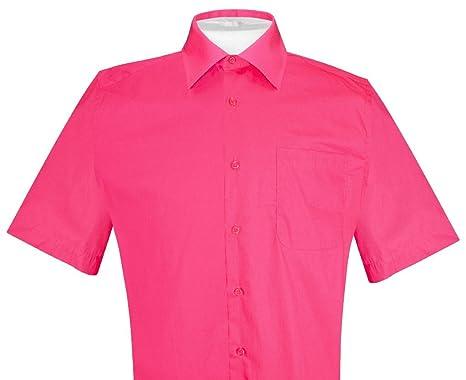 16b43efd91760 Biagio 100% Cotton Men s Short Sleeve Solid HOT Pink Fuchsia Dress Shirt ...