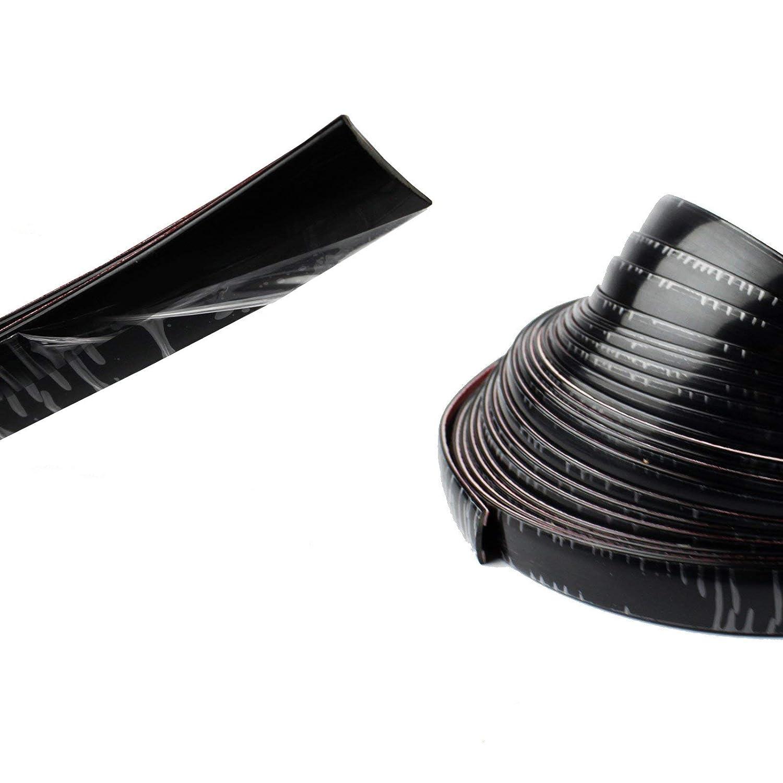 Fourbang Chrome Trim Side Molding Covers Strip Tape Auto DIY,Flexible,Durable, Body Bumper Protect Sticker Silver+Black 3/4 inch Width