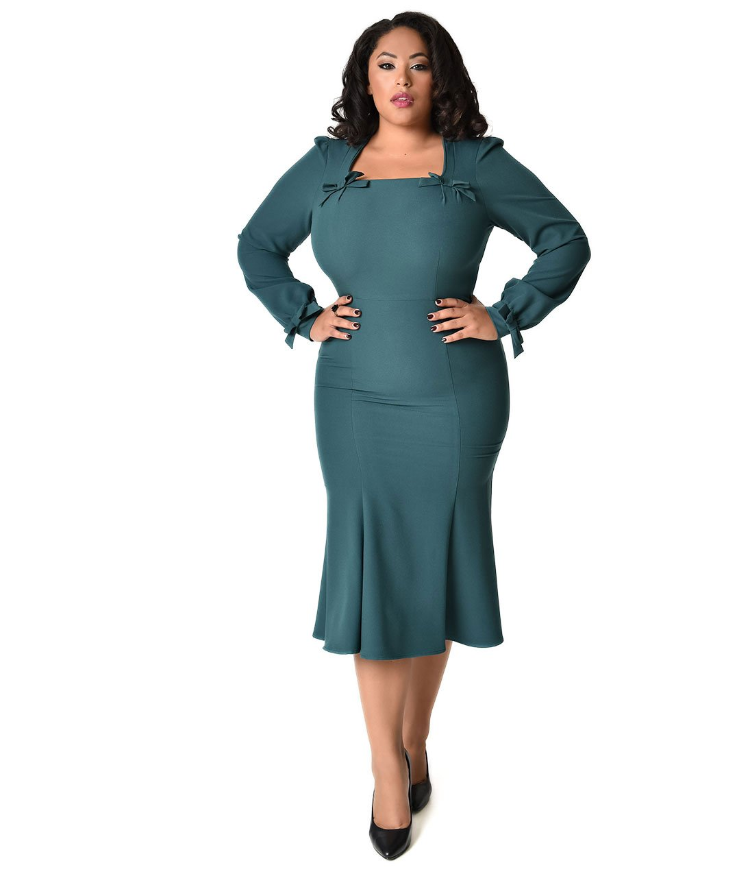 Stop Staring! 1940s Style Plus Size Forest Green Michealina Dress