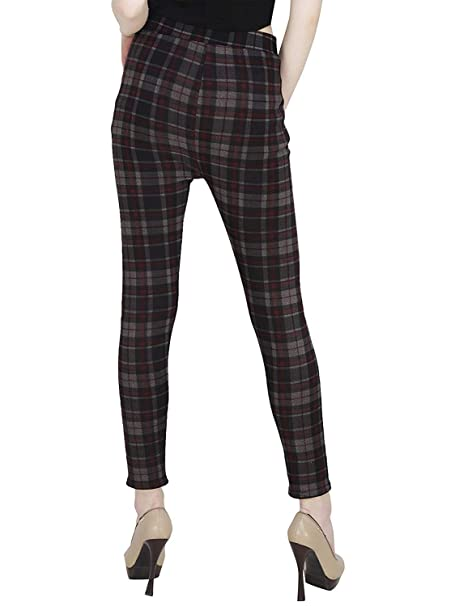 a647f806184 MUKHAKSH Women Girls Ladies Hot Latest Stretchable Brown Check Jeggings  Lower Trouser for Casual   Office wear (Free Size 26 to 40 Waist) (Size ...
